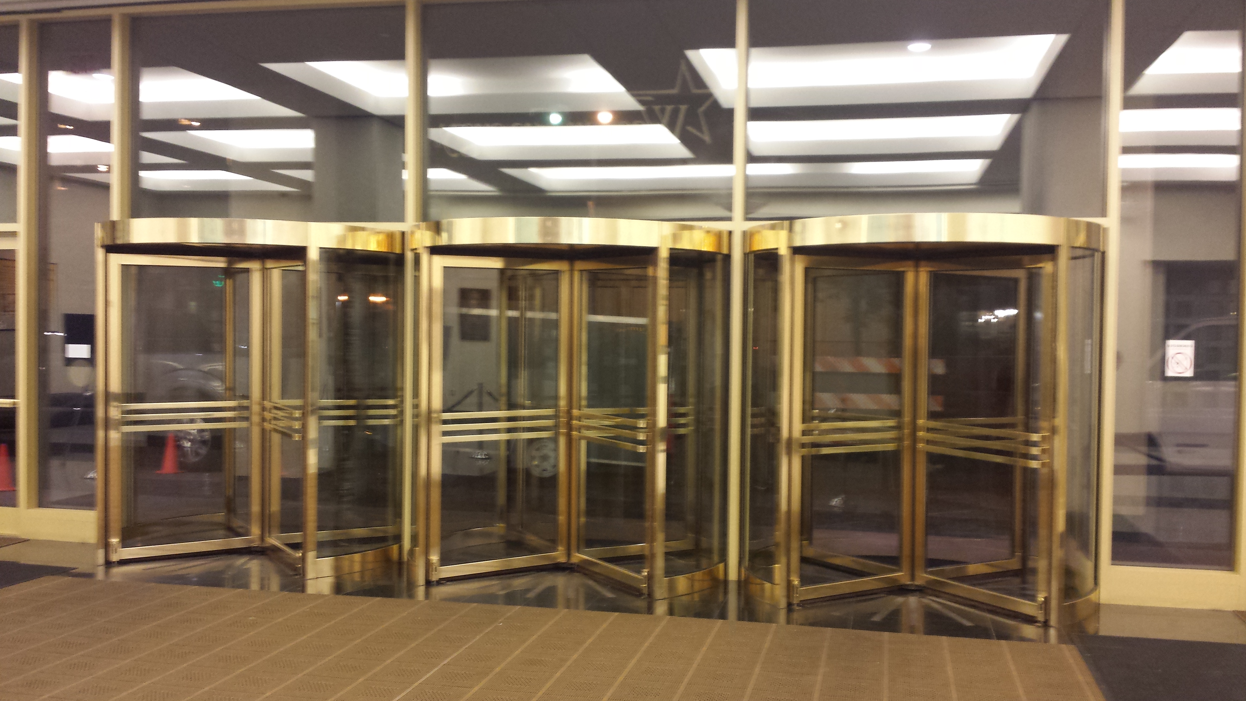 Interior lobby doors at Westar Energy in Topeka, refinished by KC Restoration.