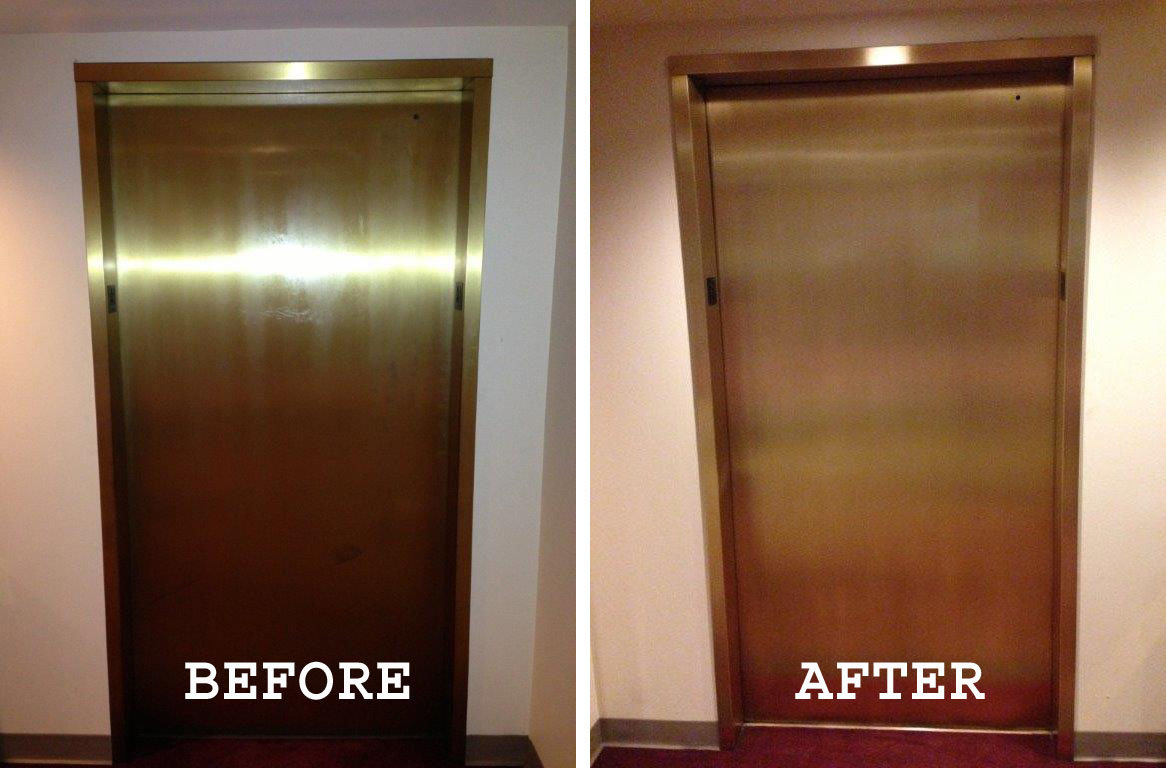 Before and after images of bronze elevators refinished on the Cerner campus.