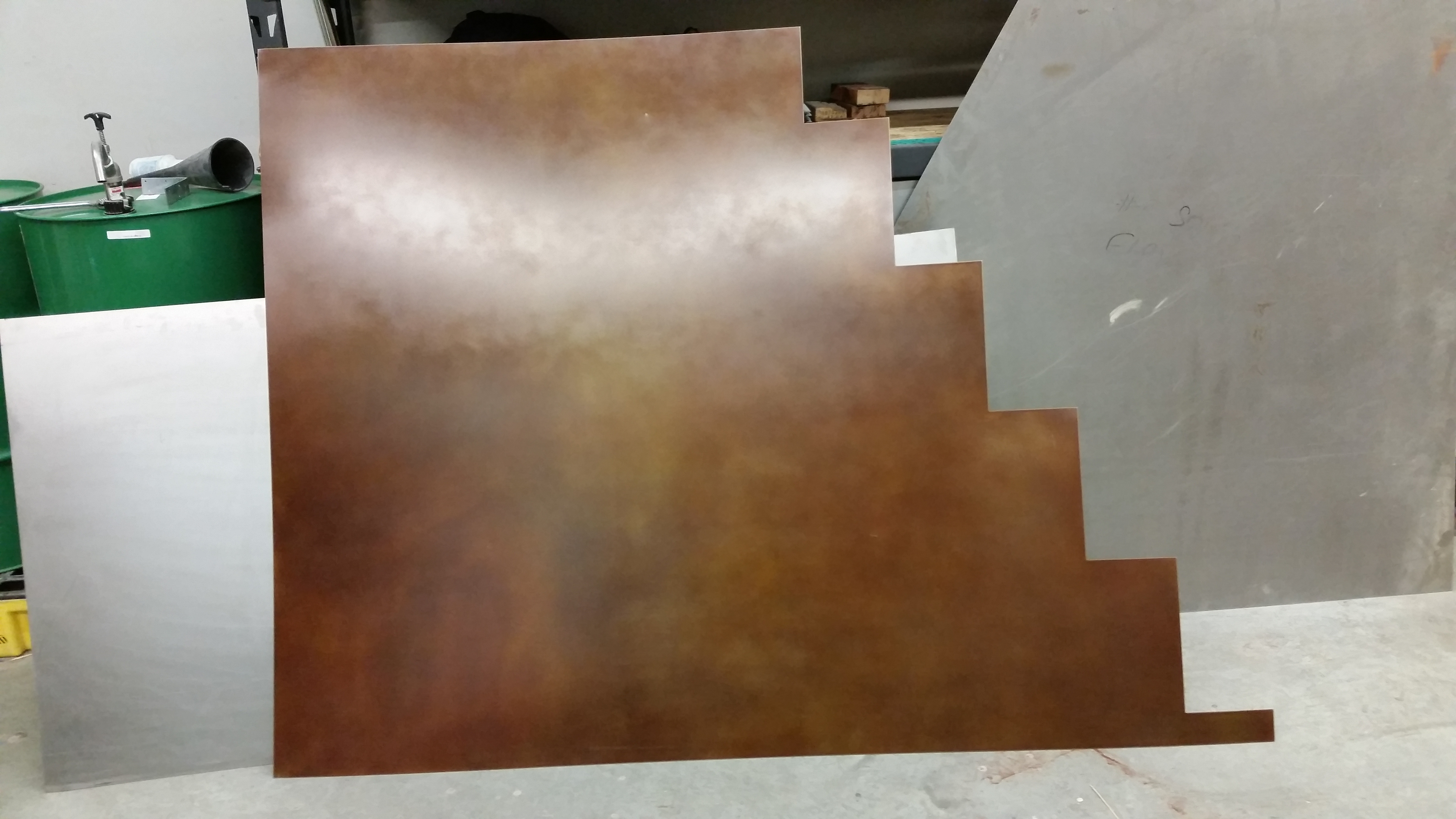 "Custom courthouse panels with ""brown leather"" patina"