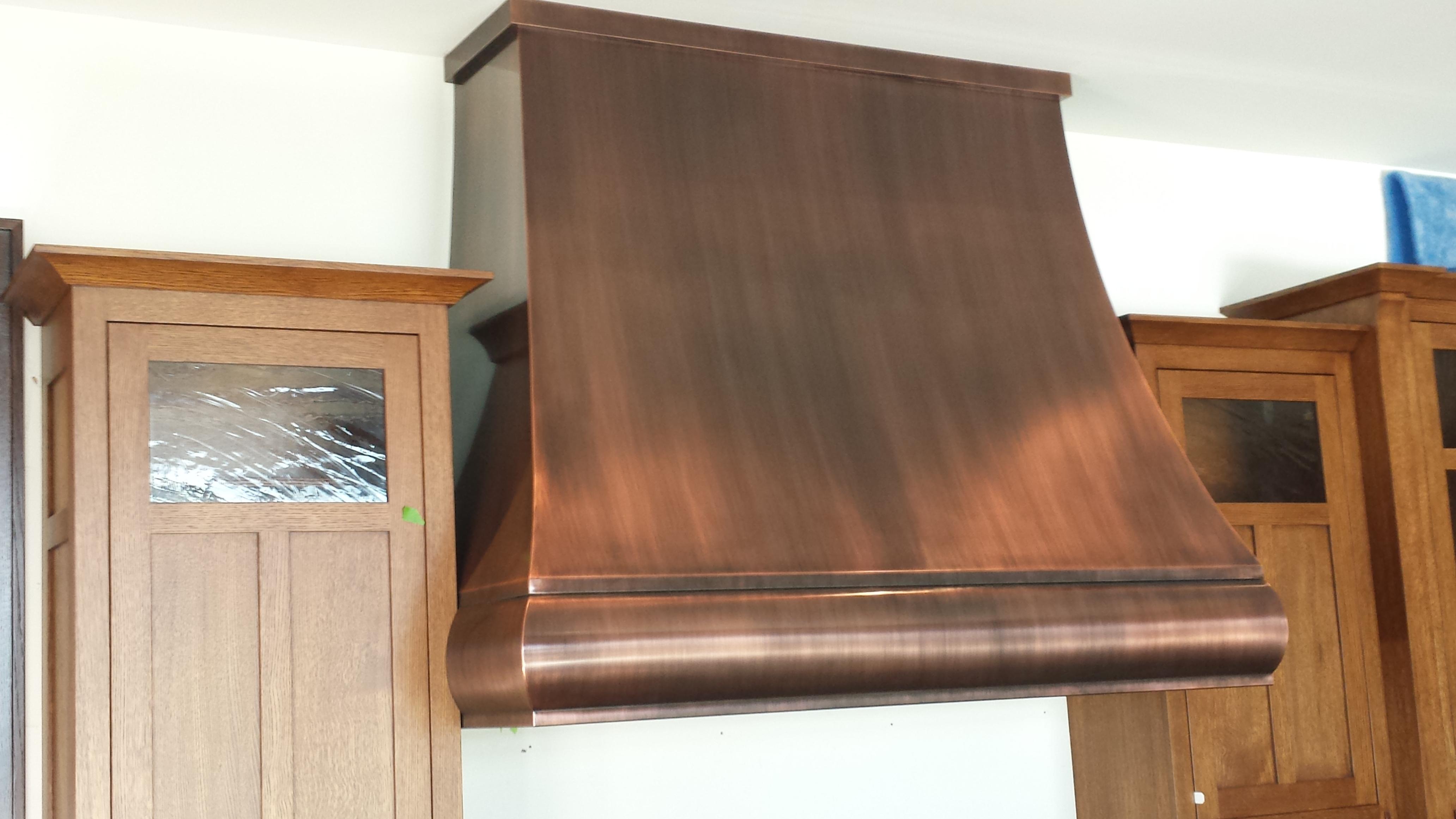 Custom finish on copper kitchen hood