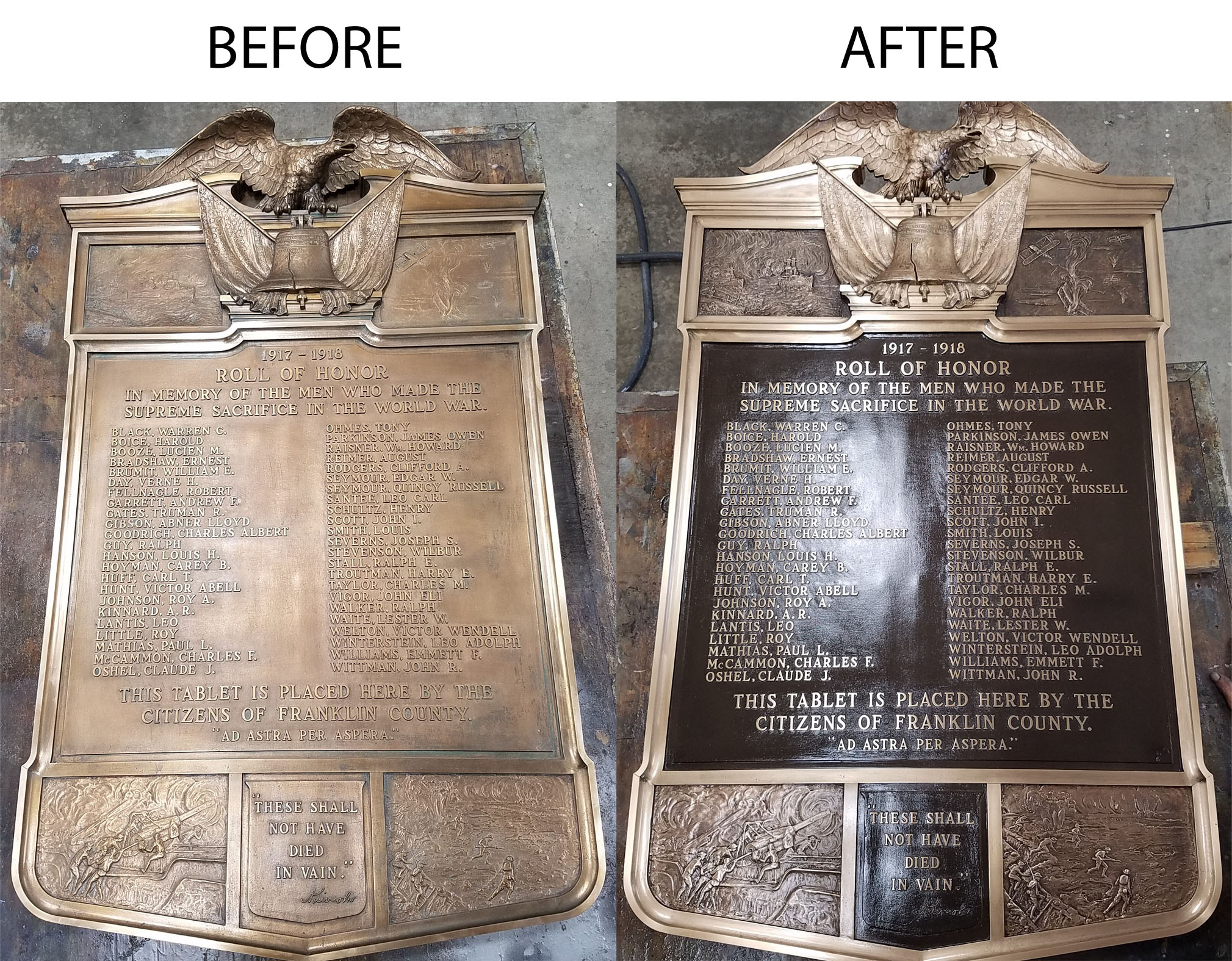 World War I plaque restoration