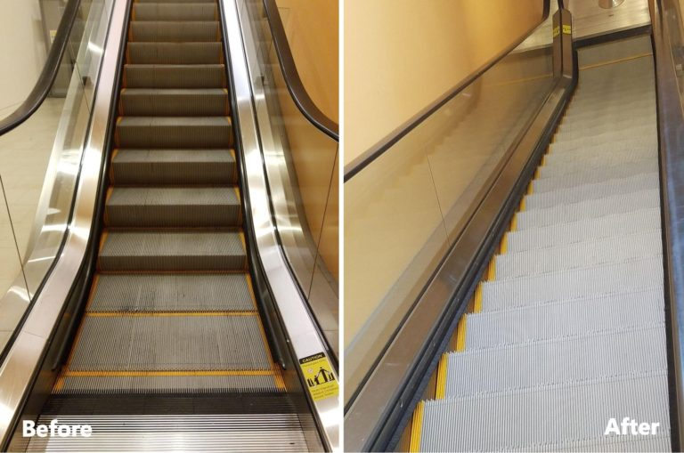 Escalator Cleaning with No Dismantling