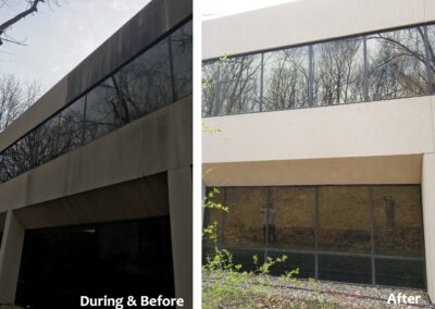 Stone Benson Building before and after deep cleaning